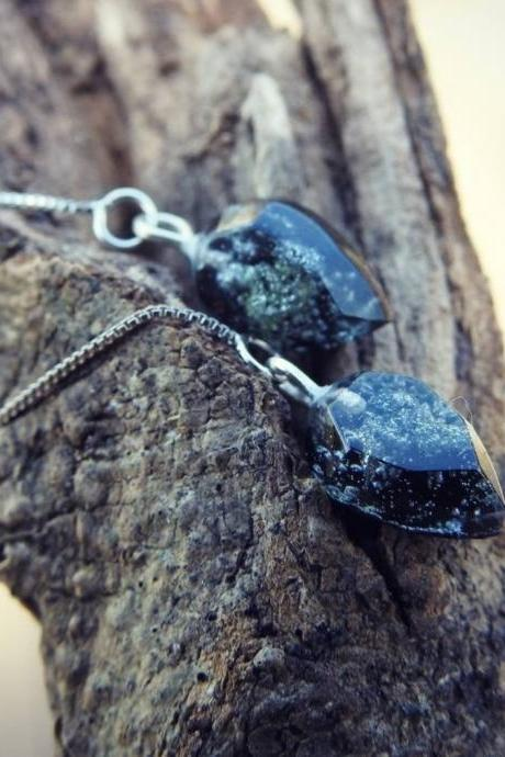 Tiny Black Petri Dish Resin Threader Earrings With Sterling Silver Threader Chains