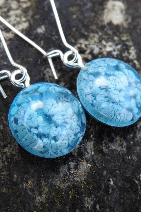 Blue And Silver Petri Dish Resin Closed Kidney Hoop Earrings