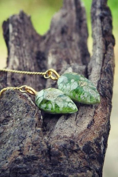 Tiny Green Petri Dish Resin Threader Earrings With Gold-plated Sterling Silver Threader Chains