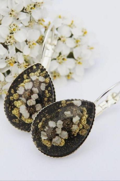 Black And Gold Resin Latch Back Earrings With Real Flowers