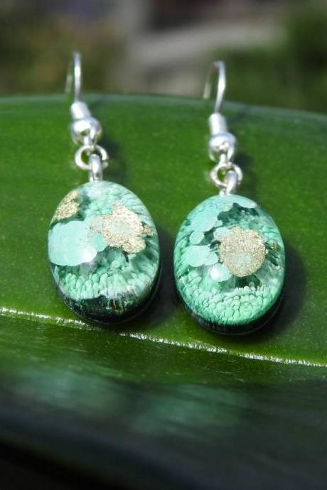 Green And Gold Petri Dish Resin Dangle Earrings