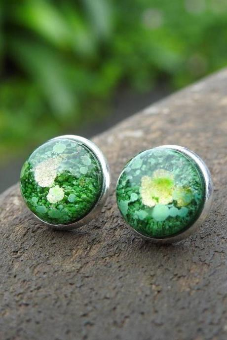 Green And Gold Petri Dish Resin Stud Earrings