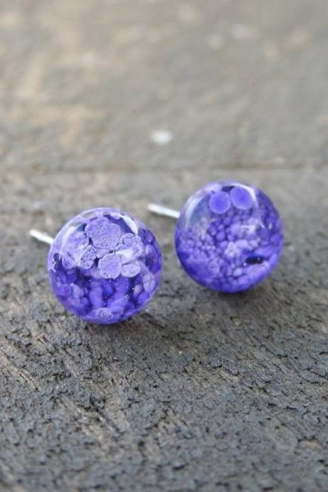 Purple/Blue Petri Dish Resin Stud Earrings