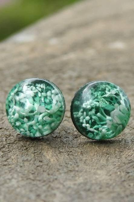Green Petri Dish Resin Stud Earrings