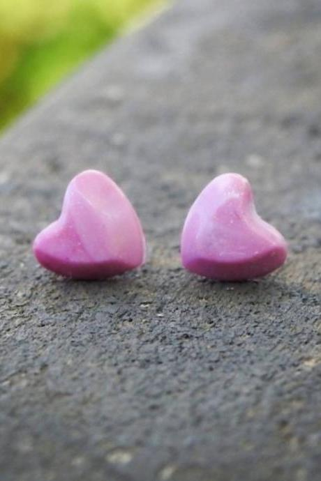 Pink Heart-Shaped Resin Stud Earrings