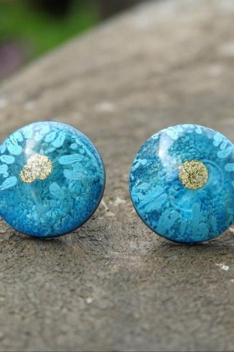 Blue And Gold Resin Stud Earrings