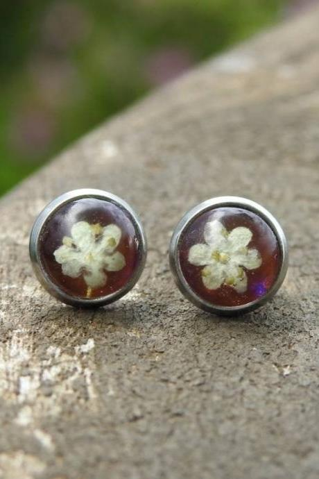 Dark Pink Iridescent Resin Stud Earrings with Real Flowers
