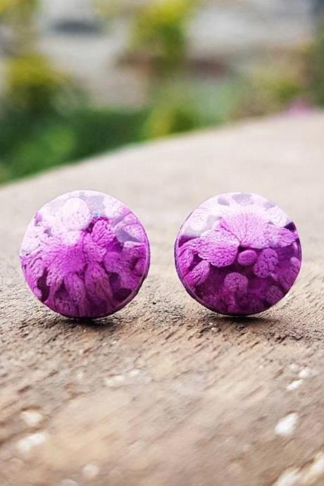 Purple Petri Dish Resin Stud Earrings