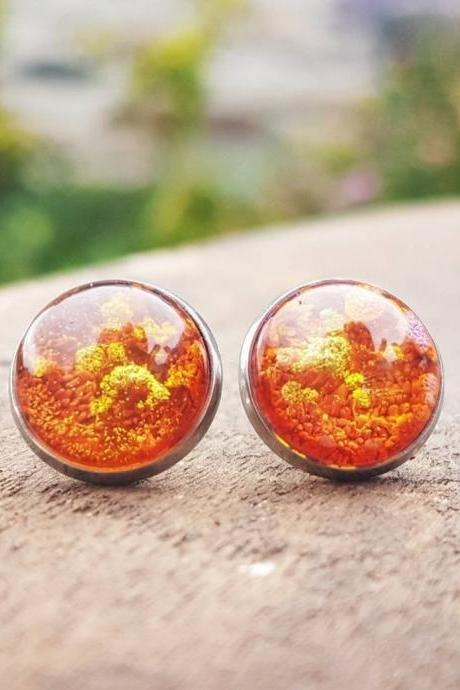 Orange And Gold Petri Dish Resin Stud Earrings