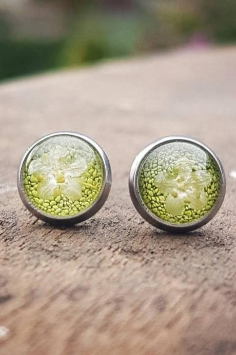 Green Resin Stud Earrings with Real Flowers