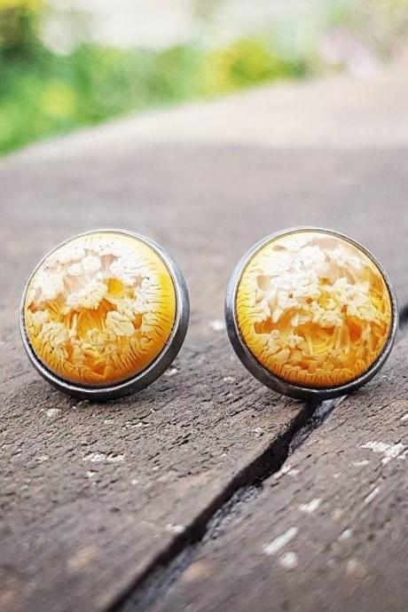 Yellow Petri Dish Resin Stud Earrings