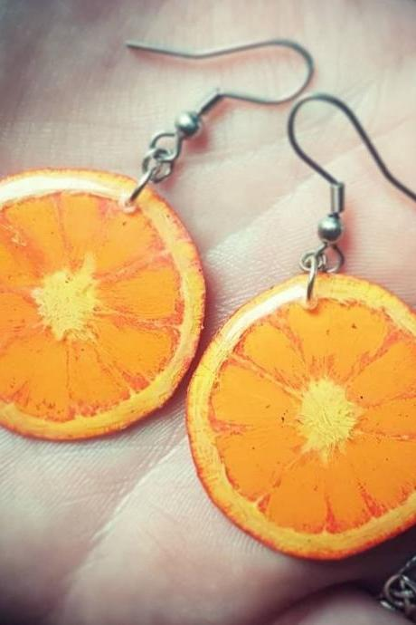 Hand-Painted Orange Slice Resin Dangle Earrings