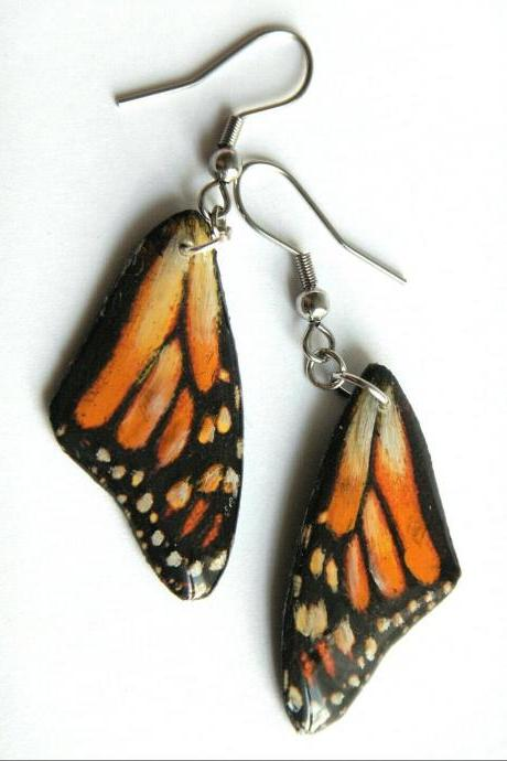 Hand-Painted Monarch Butterfly Wing Resin Dangle Earrings